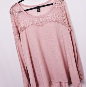 Torrid Pink Blouse with Lace